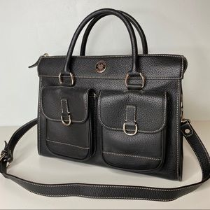 Vintage Black Dooney & Bourke Leather Tote Bag